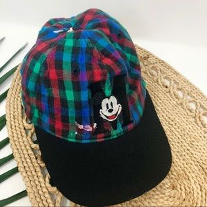 VNTG Mickey Mouse Baseball Cap Striped Snap Back